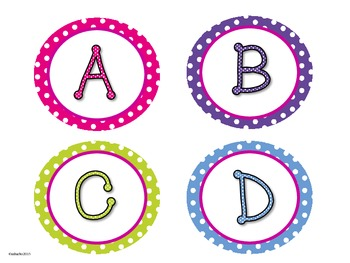 Polka Dot Circle Frames - Letters & Numbers