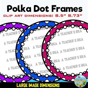 Polka Dot Circle Frames {White Filled} for Commercial Use