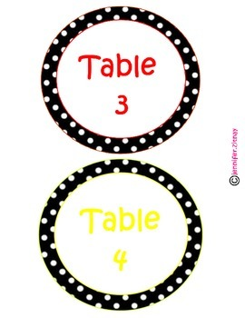 Polka Dot Circle Table Signs