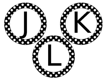 Polka Dot Circle Word Wall Letter Headers