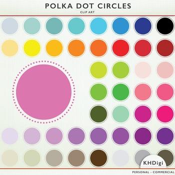 Polka Dot  Circles and Frames - 46 clip art pieces