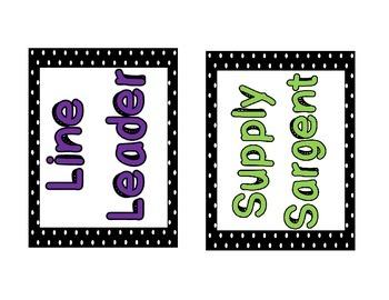 Polka Dot Class Job Bulletin Board Headers & Labels