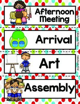 Polka Dot Class Schedule Cards