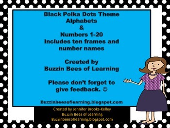 Alphabets & Numbers Black Polkadots Theme