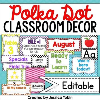 Polka Dot Theme, Polka Dot Classroom Decor