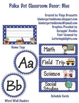 Polka Dot Classroom Decor: Blue