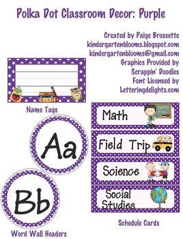 Polka Dot Classroom Decor: Purple