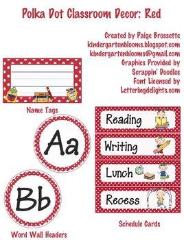 Polka Dot Classroom Decor: Red
