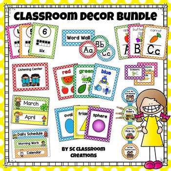 Polka Dot Classroom Decor Set (Mega Bundle) by SC Classroom Creations
