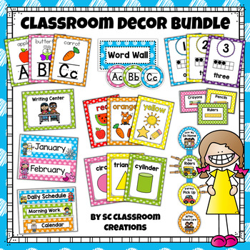 Polka Dot Classroom Decor Set - Scribble Dot (Mega Bundle) | TpT
