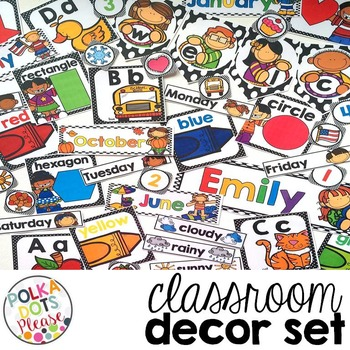 Polka Dot Classroom Decor and Calendar Set