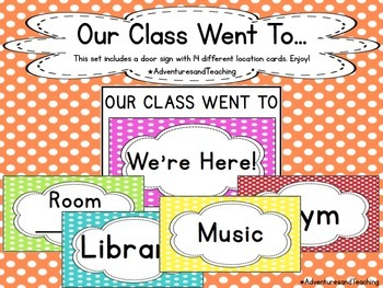 Polka Dot Classroom Door Sign {Where are we?}