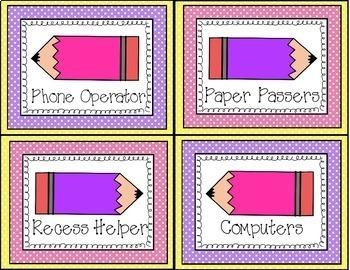Polka Dot Classroom Helpers Job Chart