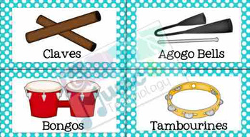 Polka Dot Classroom Instrument Bin Labels