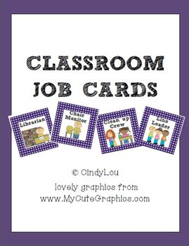 Polka-Dot Classroom Job Cards {Purple, Black, Yellow}