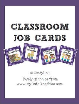 Polka-Dot Classroom Job Cards {Purple, Black, Yellow}