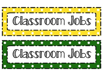 Polka Dot Classroom Job Cards