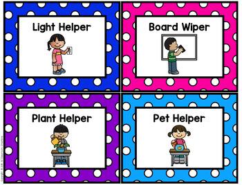 Polka Dot Classroom Jobs (Primary Dots)-Classroom Decor