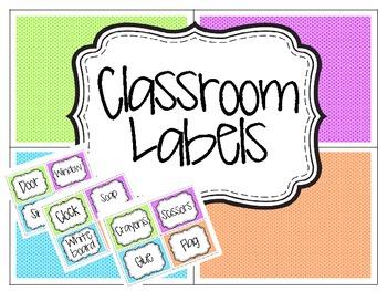 Polka Dot Classroom Labels- 52 total!