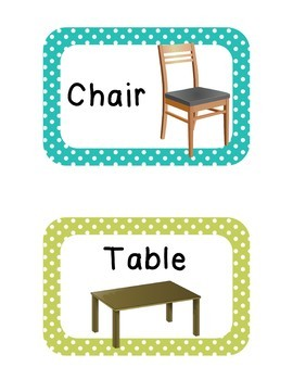Polka Dot Classroom Labels - Days, months, numbers, furniture, supplies,...