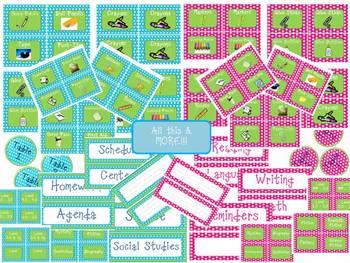 Polka Dot Classroom Labels Set