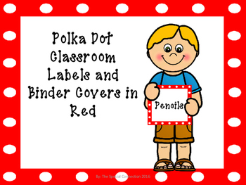 Polka Dot Classroom Labels and Binder Covers - Red