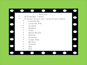 Polka Dot Classroom Labels and Binder Covers - Square
