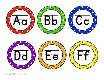 Polka Dot Classroom Labels and Signs (Primary Dots)