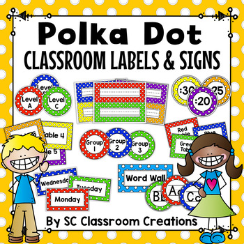 Polka Dot Classroom Labels and Signs (Primary Dots)-Classroom Decor