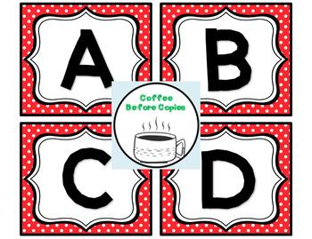 Polka Dot Classroom Library Label Freebie: A to Z