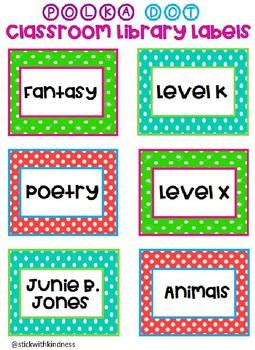 Polka Dot Classroom Library Labels EDITABLE