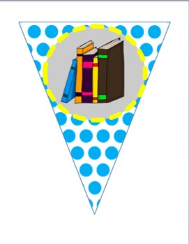 LIBRARY-READ-BOOK AREA Signs/Pennant Banners - Yellow and Blue