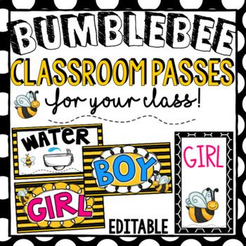 Classroom Passes- Editable Bee Theme