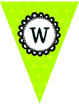 Polka Dot Classroom Pennants Banner ***Lime Green, Blue, and Navy***