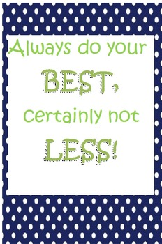 "Polka-Dot Classroom Poster ""Always Do Your Best"""