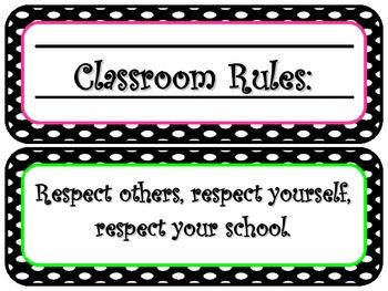 Polka Dot Classroom Rule Signs 2