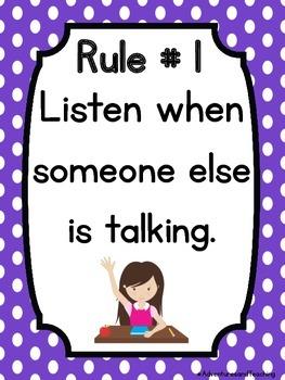 Polka Dot Classroom Rules Posters