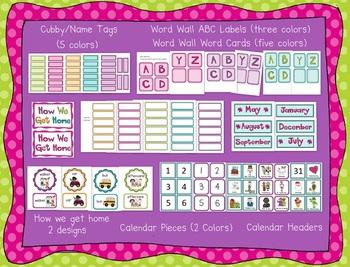 Polka Dot Classroom Set-Up Theme Pack