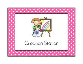 Polka Dot Classroom Station/Center Signs