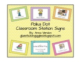 Polka Dot Classroom Station/Center Signs
