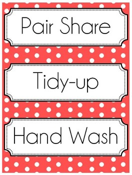Polka Dot Classroom Subject Labels and Signs