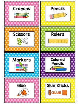 Polka Dot Supply Labels (Scribble Dots)--Classroom Decor