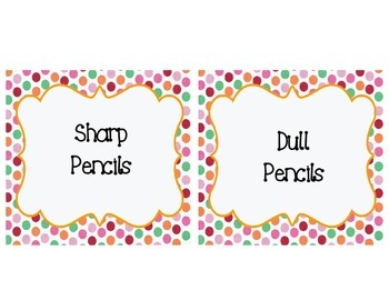 Polka Dot Supply Labels and Table Numbers