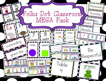 Polka Dot Theme Classroom MEGA Bundle (editable)