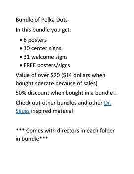Polka Dot Classroom theme Bundle- Posters, Banners, Welcome Signs