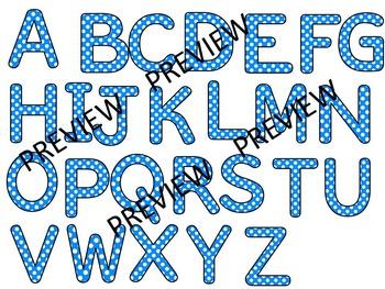 Polka Dot Clip Art Letters   Blue