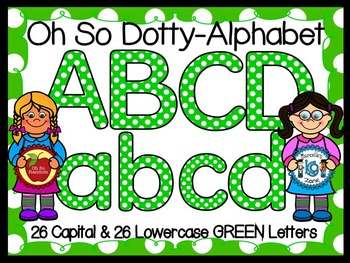 Polka Dot Clip Art Letters | Green