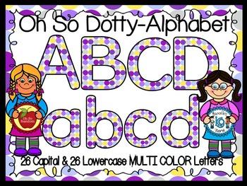 Polka Dot Clip Art Letters | Multi Color