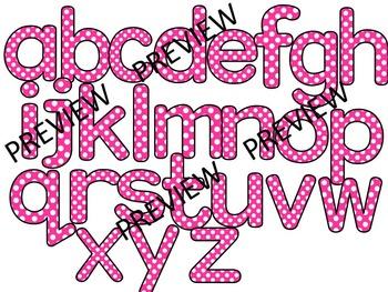 Polka Dot Clip Art Letters | Pink