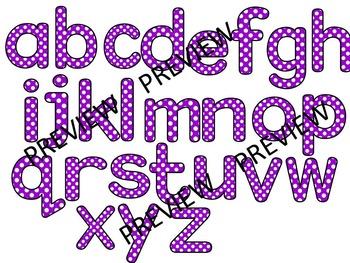 Polka Dot Clip Art Letters | Purple